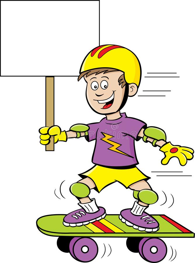 Tecknad filmpojke som rider en skateboard, medan rymma ett tecken stock illustrationer