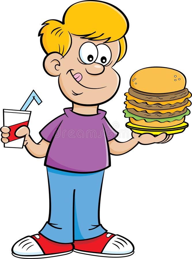 Tecknad filmpojke som rymmer en drink och en stor hamburgare royaltyfri illustrationer