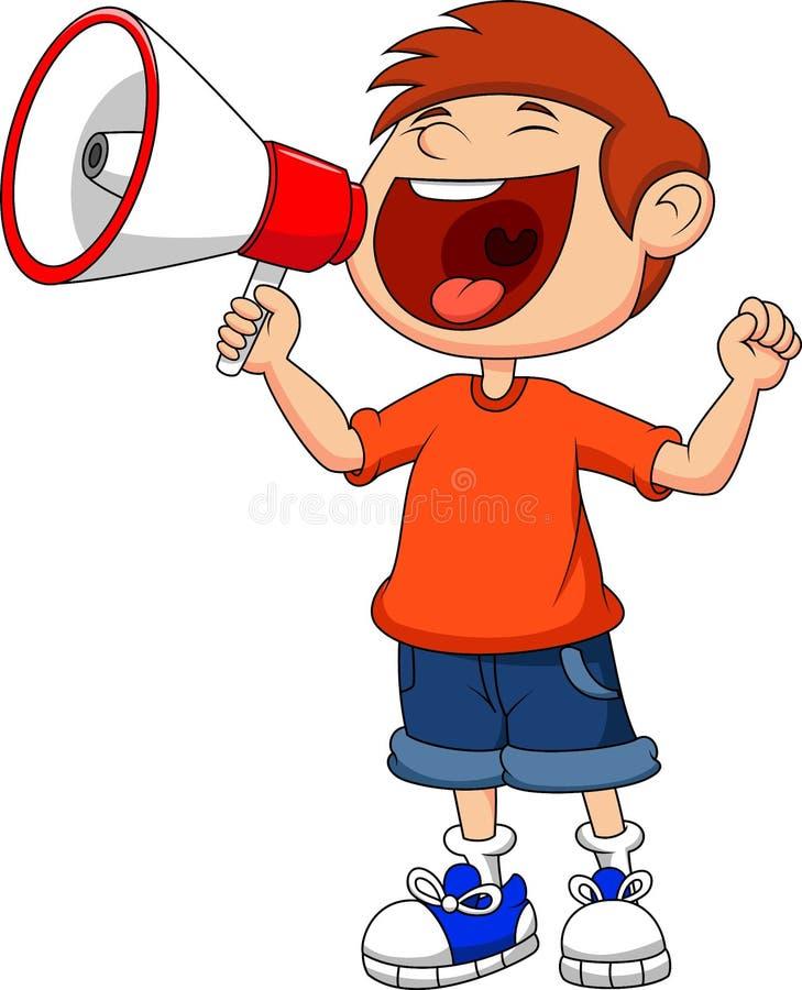 Tecknad filmpojke som skriker och ropar in i en megafon royaltyfri illustrationer