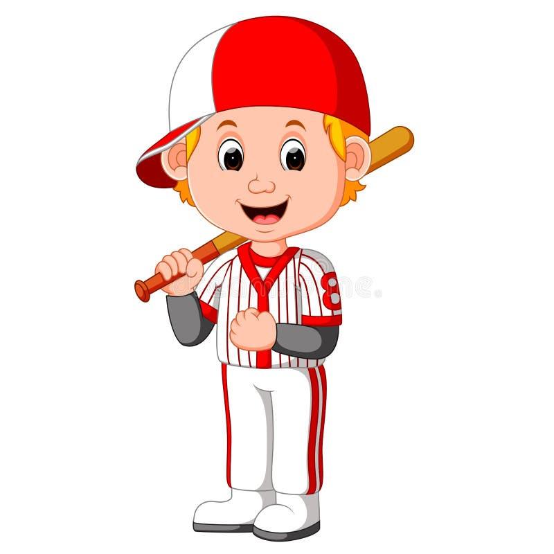 Tecknad filmpojke som spelar baseball royaltyfri illustrationer