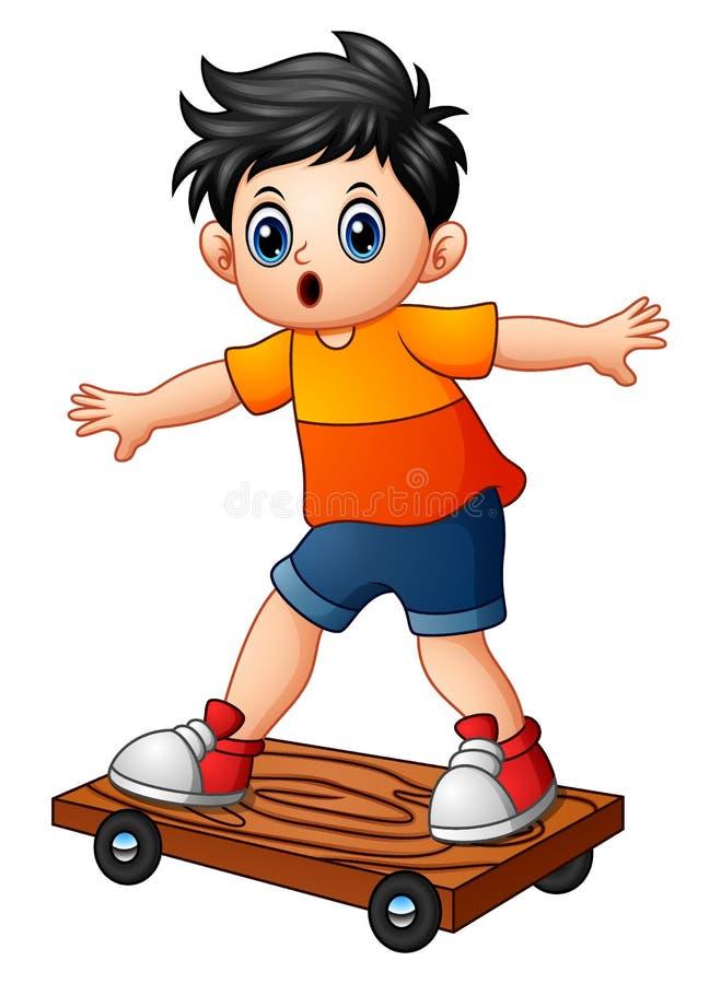 Tecknad filmpojke som spelar skateboarden stock illustrationer