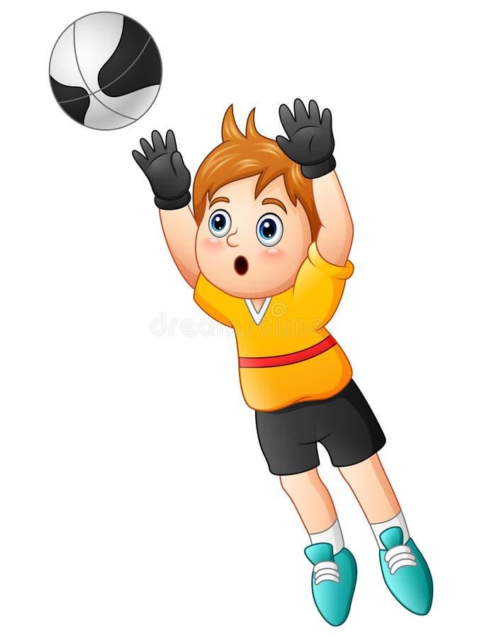 Tecknad filmpojkemålvakt som fångar en fotbollboll vektor illustrationer