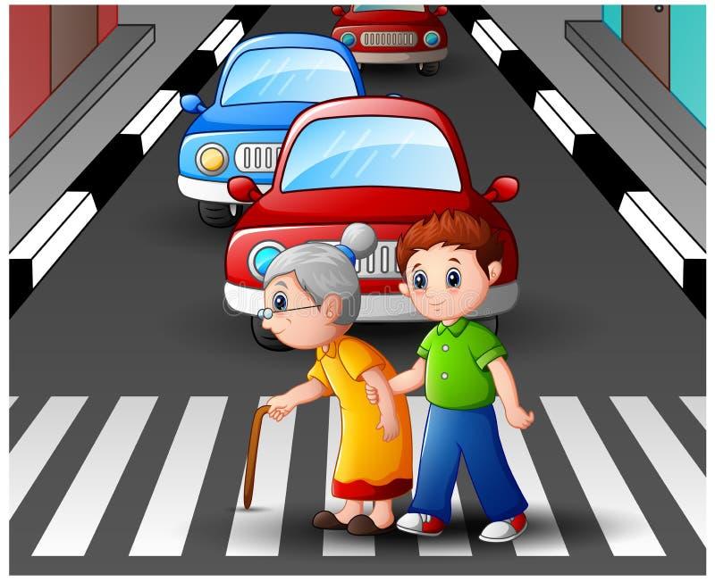 Tecknad filmpojken hjälper mormodern som korsar gatan royaltyfri illustrationer