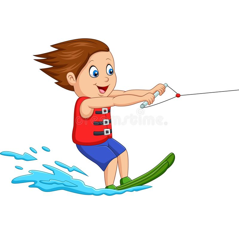 Tecknad filmpojken som spelar vatten, skidar vektor illustrationer