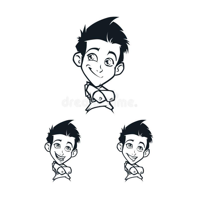 Tecknad filmpojkes ansikts- sinnesrörelse stock illustrationer