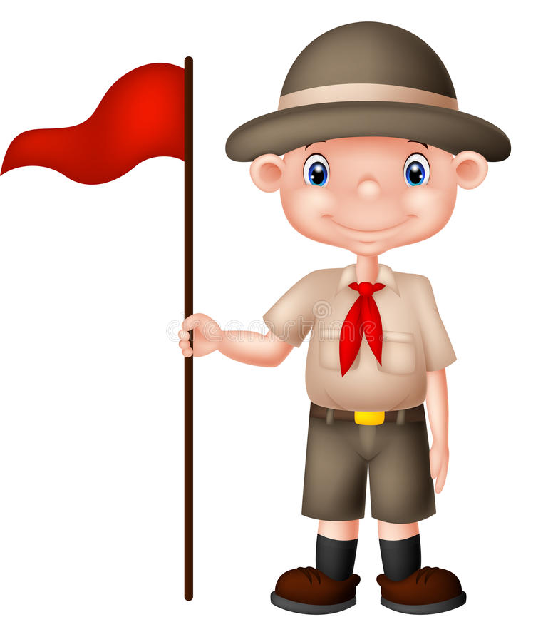 Tecknad filmpojkscout som rymmer den röda flaggan royaltyfri illustrationer