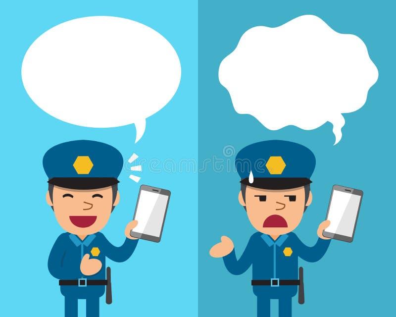 Tecknad filmpolisen med smartphonen som uttrycker olika sinnesrörelser med anförande, bubblar vektor illustrationer