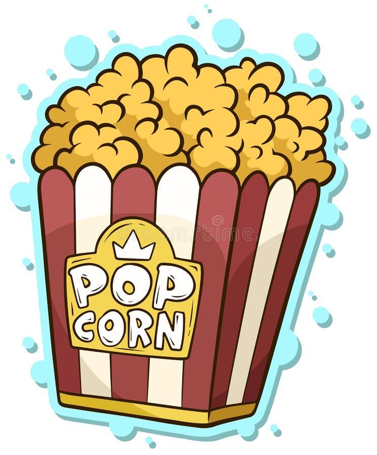 Tecknad filmpopcorn i pappers- hinkask stock illustrationer