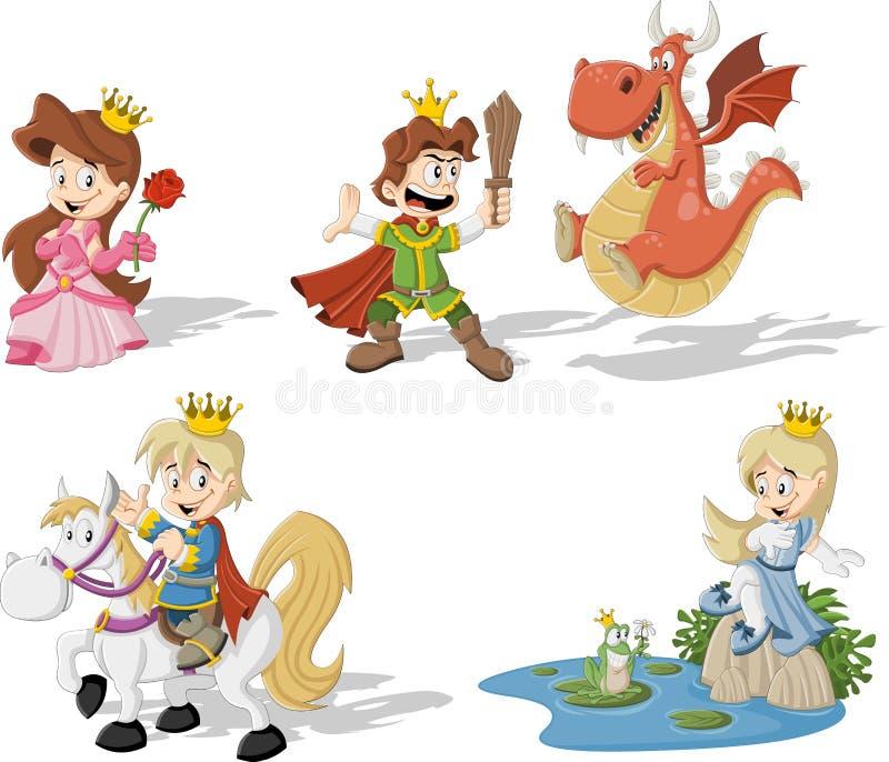 Tecknad filmprinsessor och prinsar vektor illustrationer