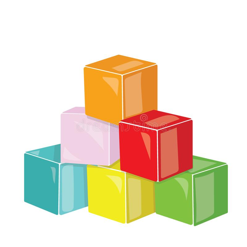 Tecknad filmpyramid av kulöra kuber Toykuber för barn Färgrik vektorillustration för ungar royaltyfri illustrationer