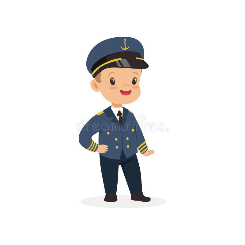 Tecknad filmpys som drömmer för att bli kapten för skepp s i framtid Ungeuppklädd för karriärdag i dagis stock illustrationer