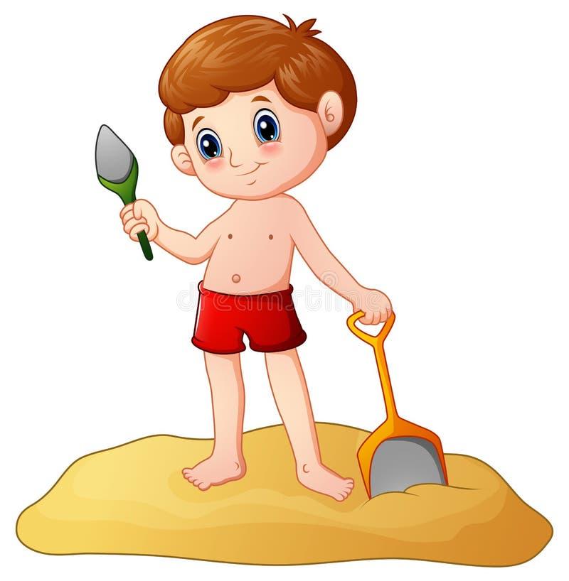 Tecknad filmpys som spelar sand med en skyffel royaltyfri illustrationer