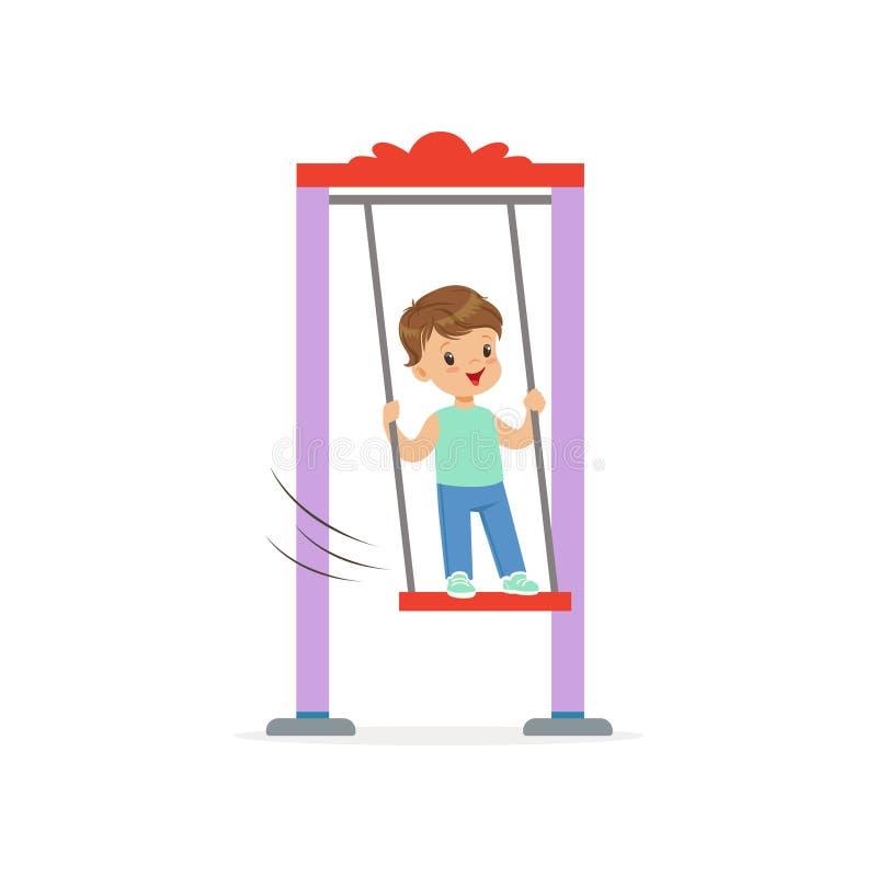 Tecknad filmpysanseende på gunga Ungen som offentligt spelar parkerar, eller dagislekplatsen Barntecken i lägenhet vektor illustrationer