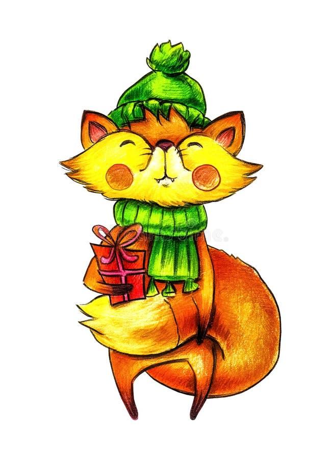 Tecknad filmräv i en grön vinterhatt och halsduk med en stor gåva i händerna stock illustrationer