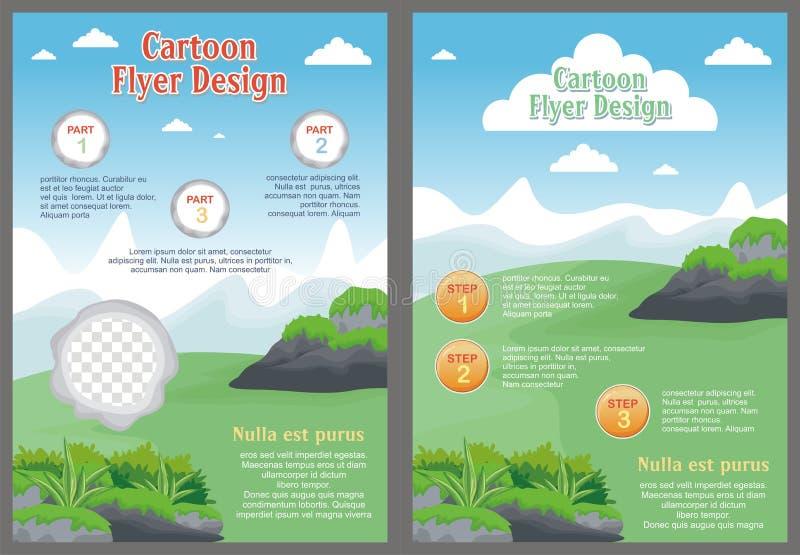 Tecknad filmreklamblad - broschyr med älskvärd design royaltyfri illustrationer