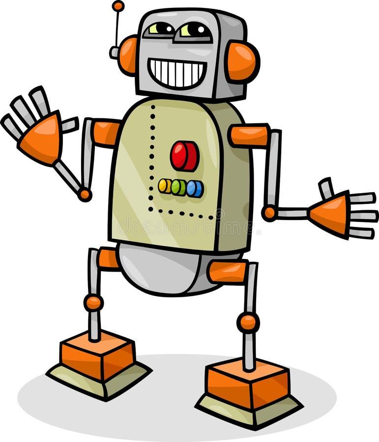 Tecknad filmrobot eller droidillustration royaltyfri illustrationer