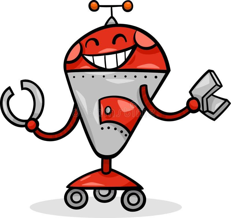 Tecknad filmrobot eller droidillustration stock illustrationer