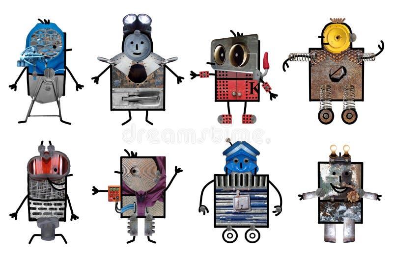 Tecknad filmrobotar - åtta tecken royaltyfri illustrationer