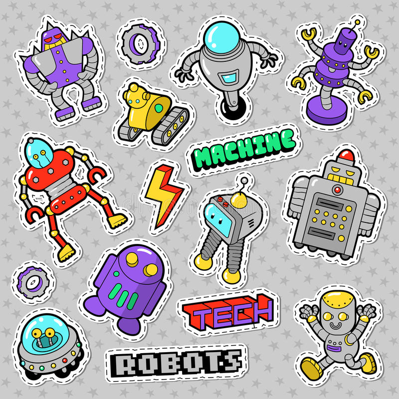 Tecknad filmrobotar och Retro stilelektronikklotter Klistermärkear, emblem och lappar royaltyfri illustrationer