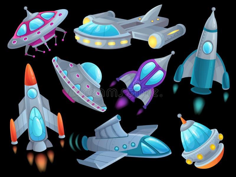 Tecknad filmrymdskepp Futuristiska utrymmeraketmedel, främmande ufo för flygrymdskeppskepp och rymdrocketship som isoleras vektor illustrationer