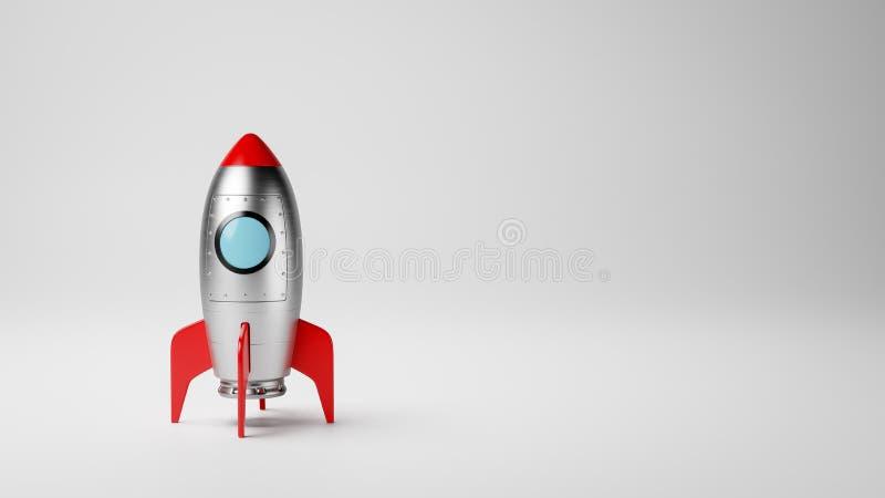 Tecknad filmrymdskepp på vit med Copyspace fotografering för bildbyråer