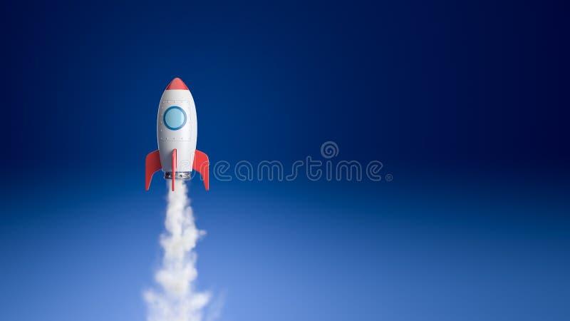 Tecknad filmrymdskeppflyg i blåtten arkivbilder