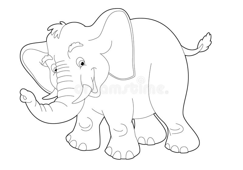 Tecknad filmsafari - färgläggningsida - illustration för barnen vektor illustrationer