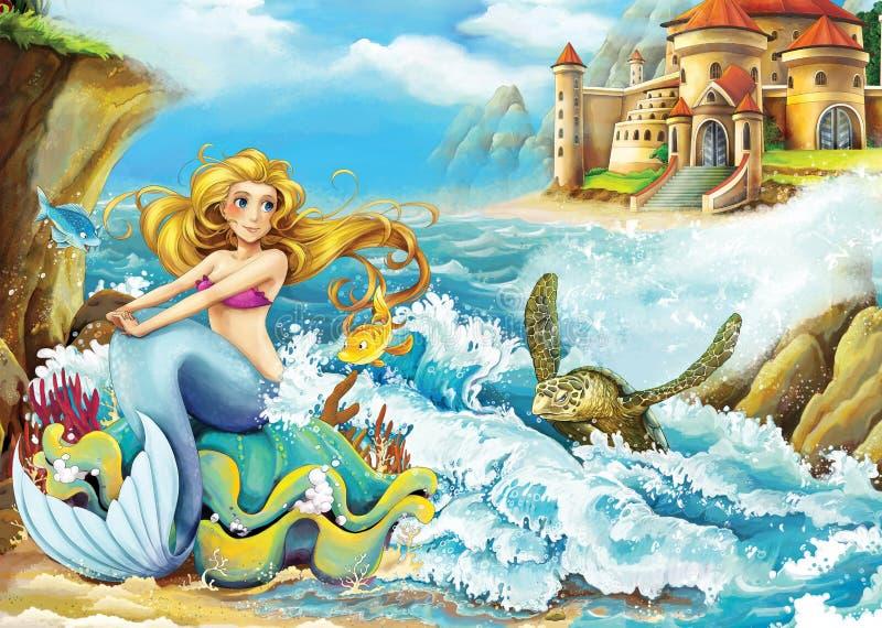 Tecknad filmsaga - illustration för barnen stock illustrationer