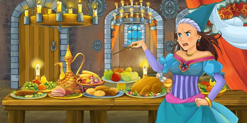 Tecknad filmsaga med prinsessan i slotten vid tabellen mycket av mat som ser och ler royaltyfri illustrationer