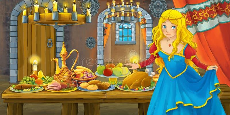 Tecknad filmsaga med prinsessan i slotten vid tabellen mycket av mat som ser och ler stock illustrationer
