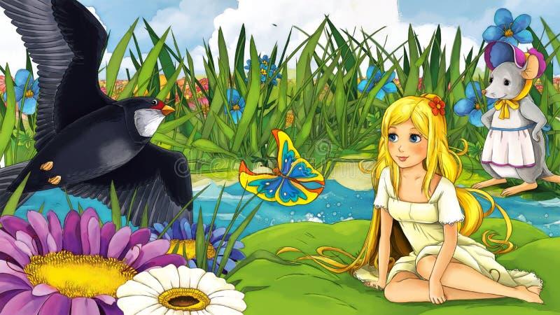 Tecknad filmsagaplats - illustration för barnen vektor illustrationer