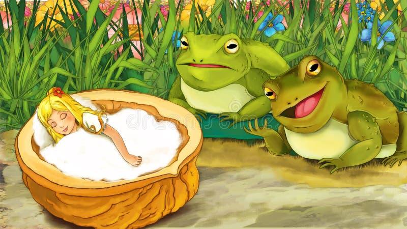 Tecknad filmsagaplats - illustration för barnen stock illustrationer