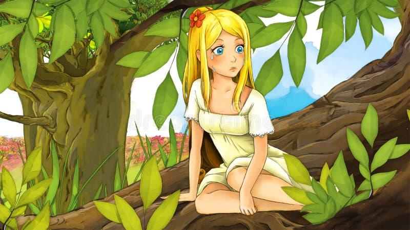 Tecknad filmsagaplats - illustration för barnen royaltyfri illustrationer
