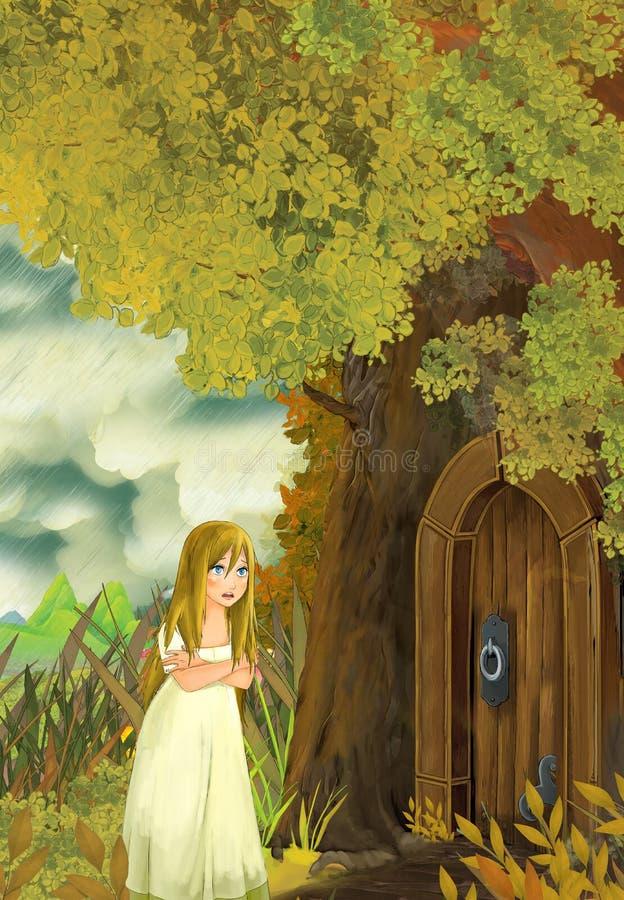 Tecknad filmsagaplats med en ung liten flickauppehälle i ett trädhus och en vågbrytare som kommer att besöka royaltyfri illustrationer