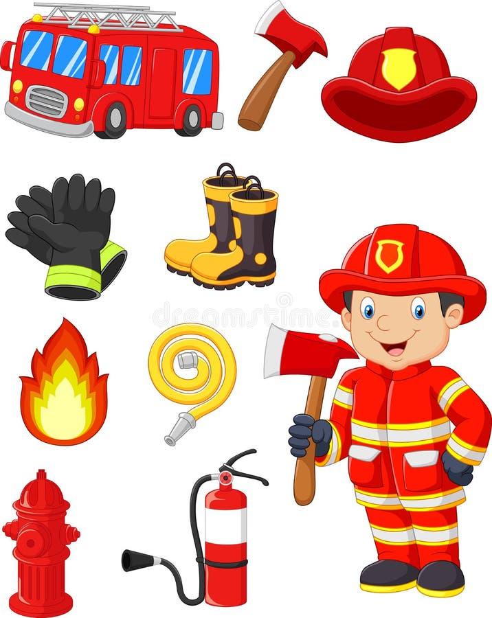 Tecknad filmsamling av brandutrustning royaltyfri illustrationer