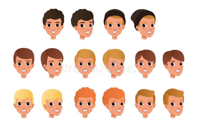 Tecknad filmsamling av variation av hårstilar och färger för pojke s Unge med att le framsidauttryck Symboler för mänskligt huvud vektor illustrationer