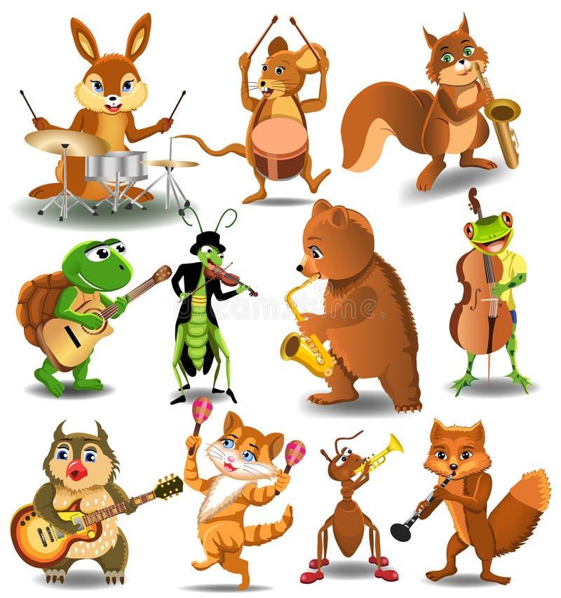 Tecknad filmsamling av vilda djur som spelar instrument vektor illustrationer