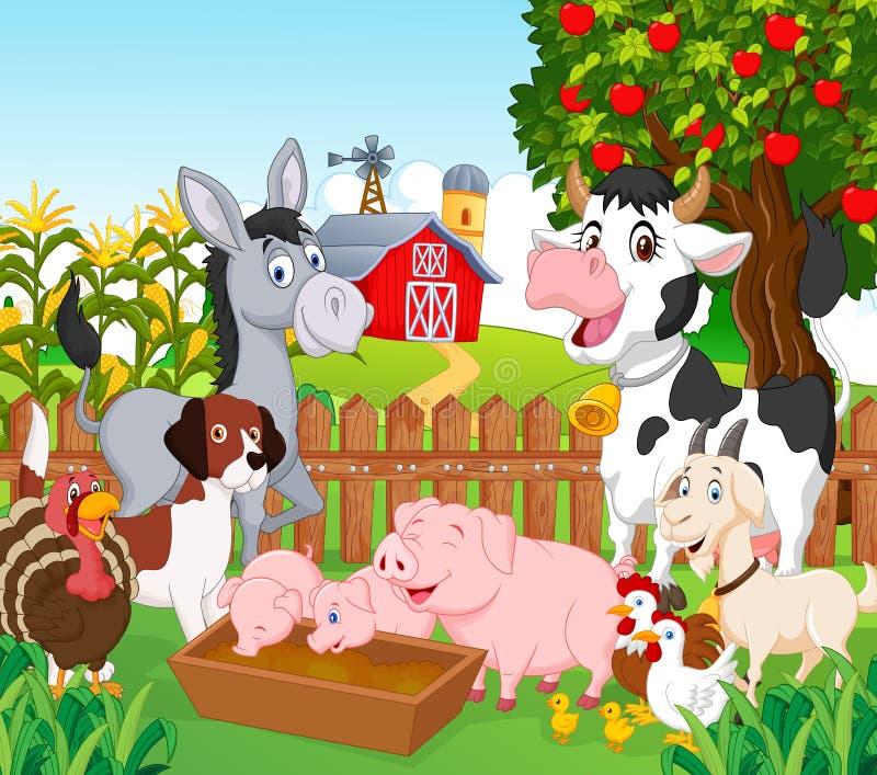 Tecknad filmsamlingsdjur i lantgården vektor illustrationer