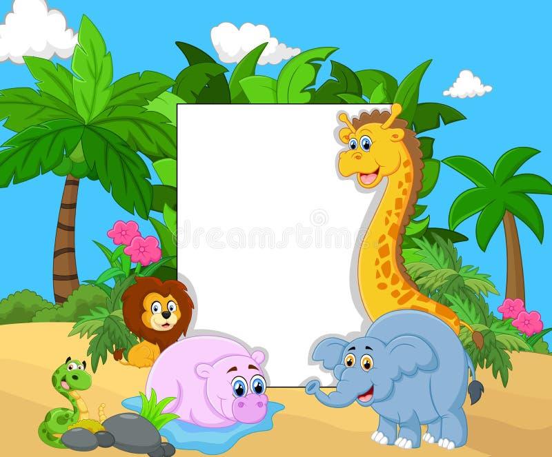 Tecknad filmsamlingsdjur med det tomma tecknet stock illustrationer