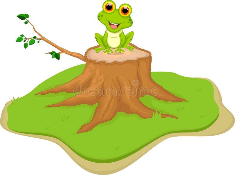 Tecknad filmsammanträde för grön groda på trädstubbe royaltyfri illustrationer