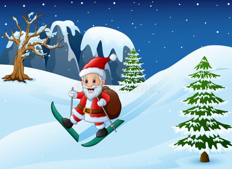 Tecknad filmSanta Claus skidåkning med säcken av gåvor på sluttande snö stock illustrationer