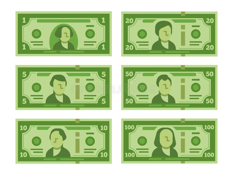 Tecknad filmsedel Dollarkassa, pengarsedlar och hundra dollar stiliserad vektor för räkningar sänker illustrationen royaltyfri illustrationer