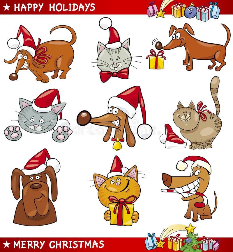 Tecknad filmSet av julkatter och hundar stock illustrationer