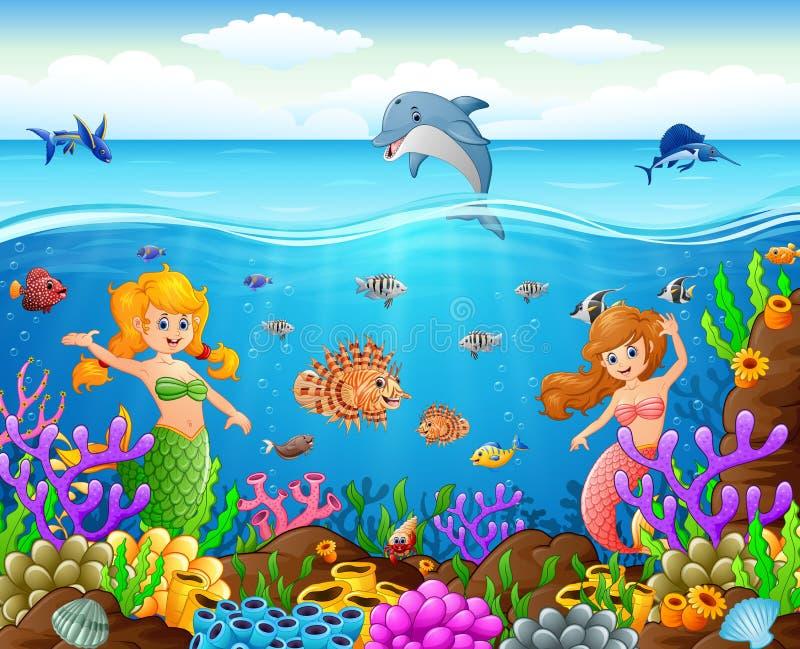 Tecknad filmsjöjungfru under havet stock illustrationer