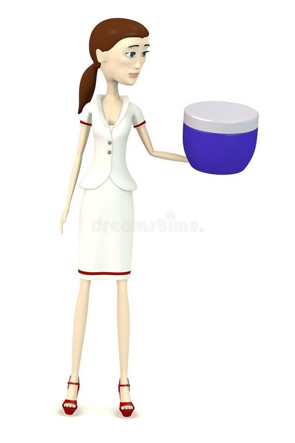 Tecknad filmsjuksköterska med kräm vektor illustrationer