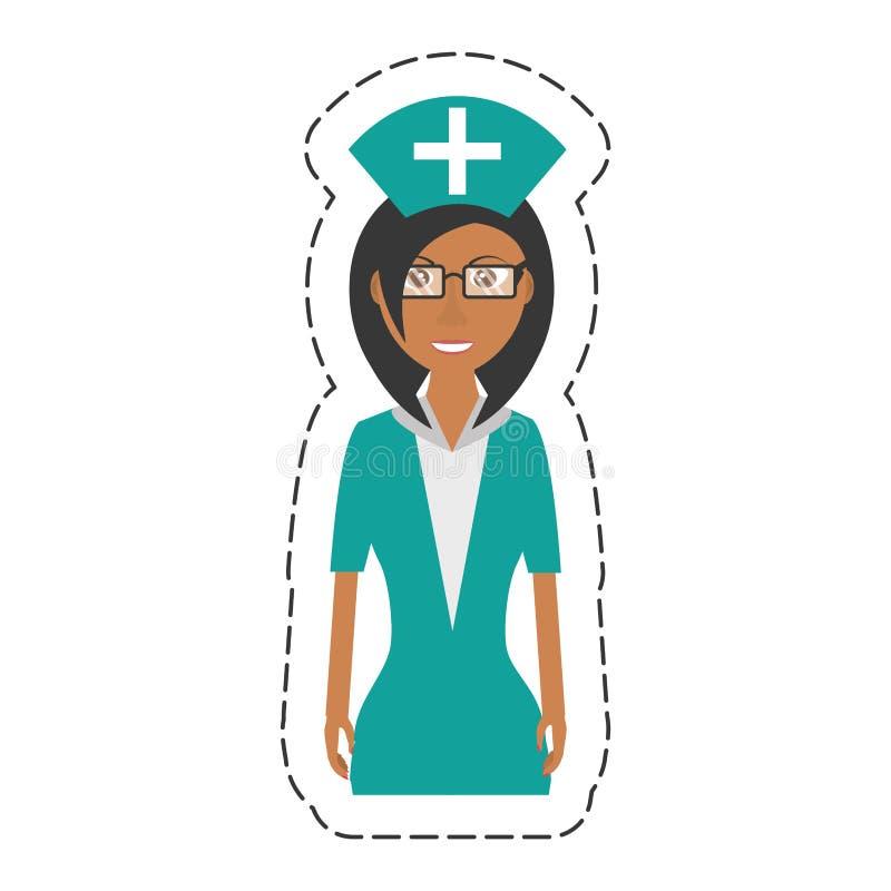 tecknad filmsjuksköterskakvinnlig med det enhetliga hattkorset för exponeringsglas stock illustrationer