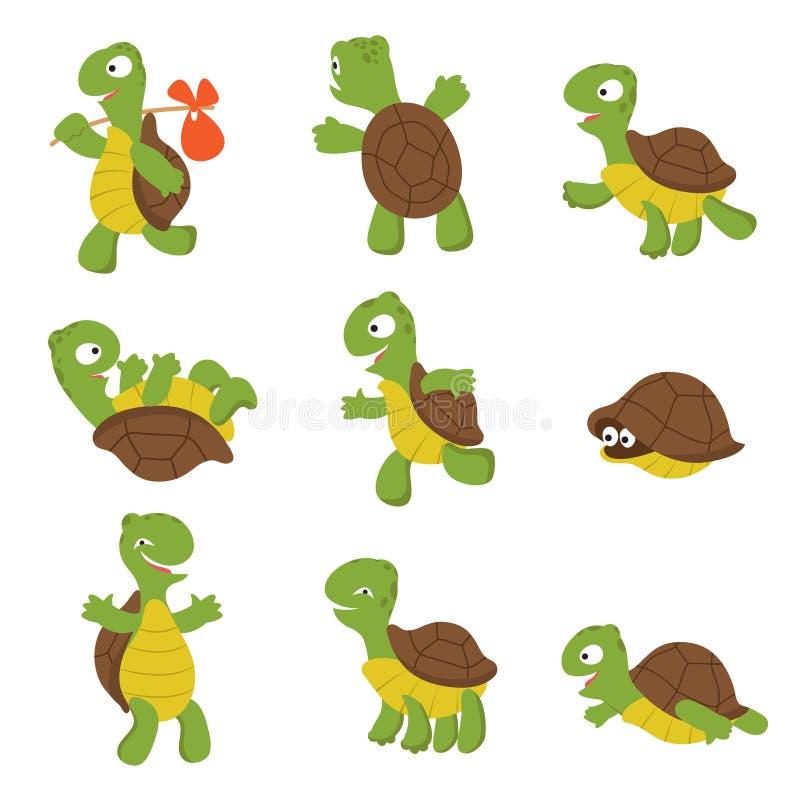 Tecknad filmsköldpadda Isolerade gulliga tecken för vektor för löst djur för sköldpadda stock illustrationer