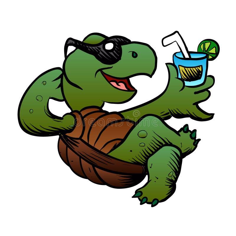 Tecknad filmsköldpadda som dricker coctailen vektor illustrationer