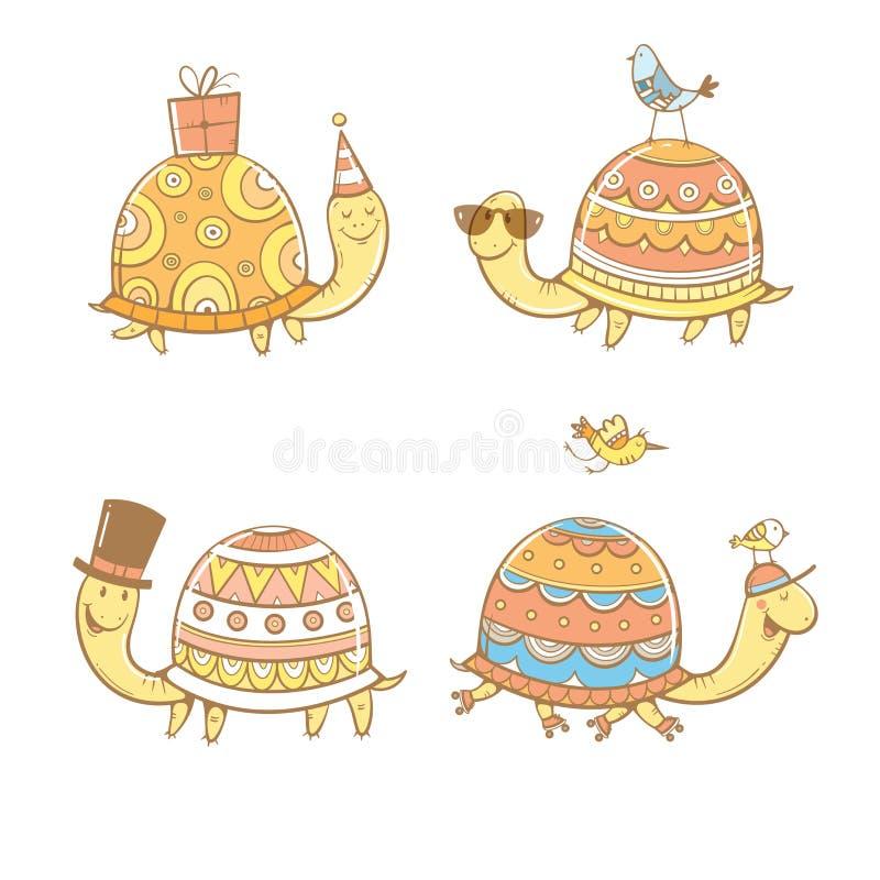 Tecknad filmsköldpaddauppsättning stock illustrationer