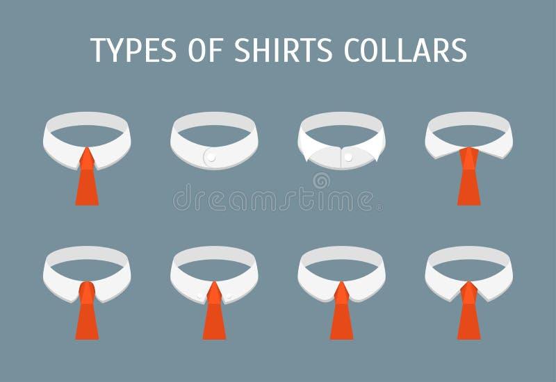 Tecknad filmskjortan förser med krage den olika typsymbolsuppsättningen vektor stock illustrationer
